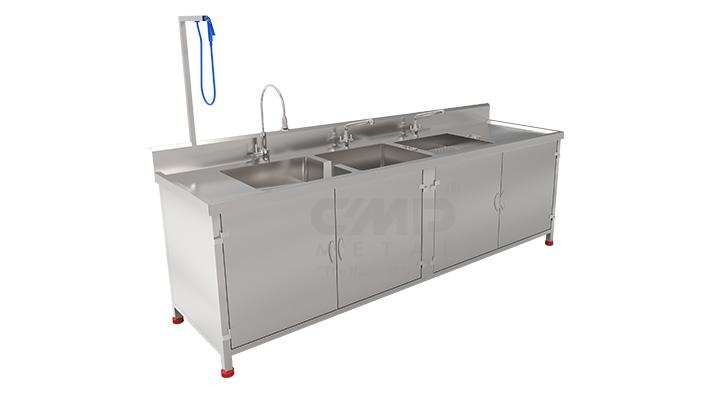 Instrumental washing sink with cabinet